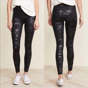 Spanx Faux Leather Camo Leggings In Matte Black